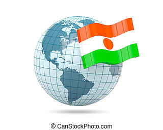 Globe with flag of niger
