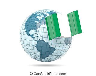 Globe with flag of nigeria