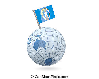 Globe with flag of northern mariana islands