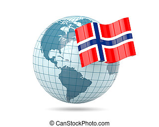 Globe with flag of norway