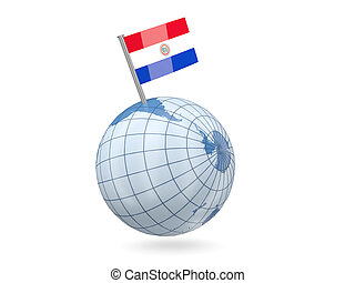 Globe with flag of paraguay