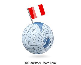 Globe with flag of peru