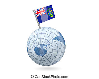 Globe with flag of pitcairn islands