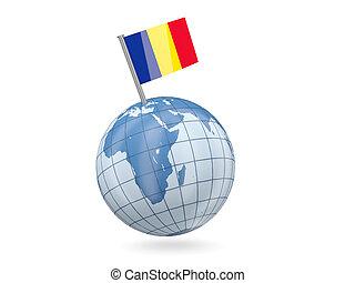 Globe with flag of romania