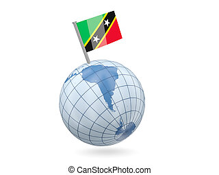 Globe with flag of saint kitts and nevis
