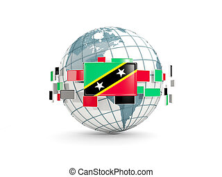 Globe with flag of saint kitts and nevis isolated on white....