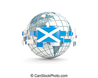 Globe with flag of scotland isolated on white