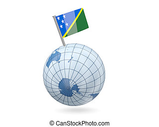 Globe with flag of solomon islands