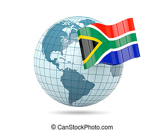 Globe with flag of south africa