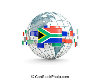 Globe with flag of south africa isolated on white