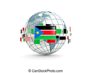 Globe with flag of south sudan isolated on white