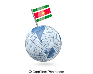 Globe with flag of suriname