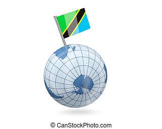 Globe with flag of tanzania
