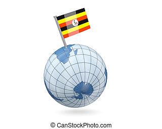 Globe with flag of uganda