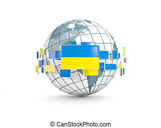 Globe with flag of ukraine isolated on white