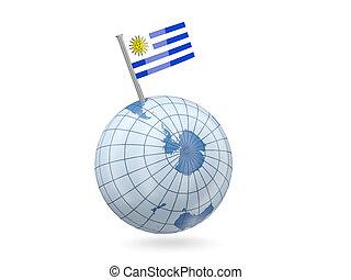 Globe with flag of uruguay