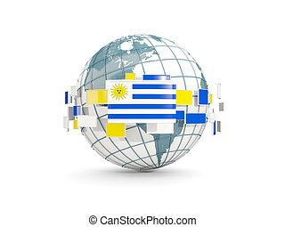 Globe with flag of uruguay isolated on white