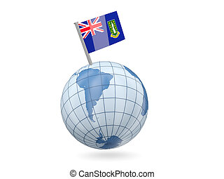 Blue globe with flag of virgin islands british isolated on white