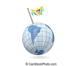 Globe with flag of virgin islands us