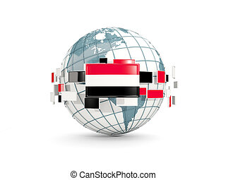 Globe with flag of yemen isolated on white