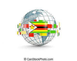 Globe with flag of zimbabwe isolated on white