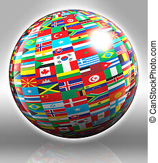 globe with flags with clipping path