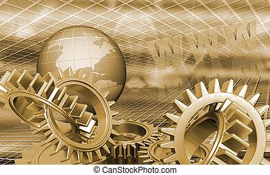 Globe with gears - 3D globe with interlocking gears