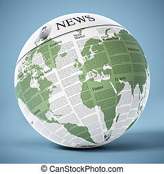 Globe with generic newspaper texture. 3D illustration