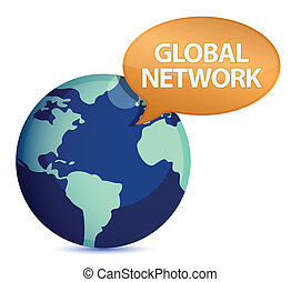 Globe with global network message