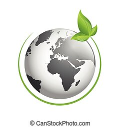 globe with green leaf on white background