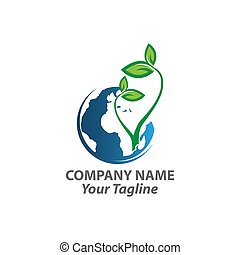 Globe with green leaves icon. Symbol of ecological, sustainable, green and pollution free planet. Vector Illustration
