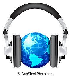 Globe with headphones isolated on white background