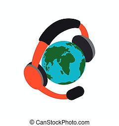 Globe with headphones icon, isometric 3d style