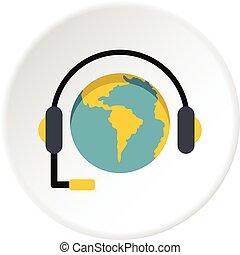 Globe with headset icon circle