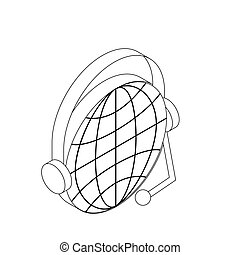 Globe with headset icon, isometric 3d style