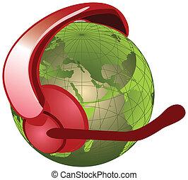 globe with headset, microphone