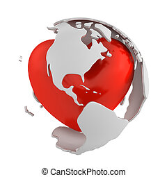 Globe with heart, America part isolated on white background