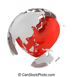 Globe with heart, Asian part