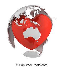 Globe with heart, Australia part
