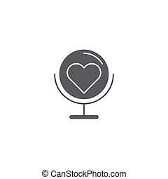 Globe with heart vector icon symbol isolated on white background