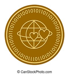 Globe with hearts golden digital coin icon. Vector style. gold yellow flat coin cryptocurrency symbol. isolated on white. eps 10