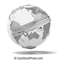 Globe with internet adress isolated on a white background....