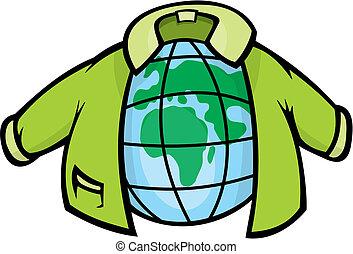 Globe with Jacket vector - Cartoon illustration of earth...