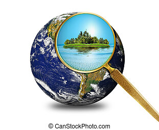 globe with magnify glass