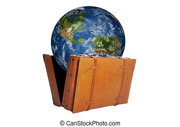 Globe with map of America get out of an open suitcase