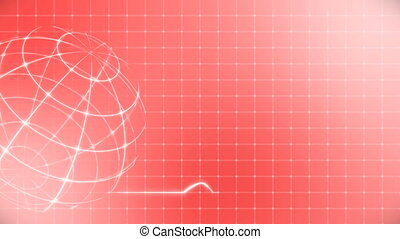 Globe with Medical Heart Beat Cardiogram on Red.
