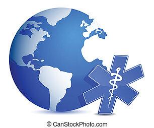 globe with medical symbol