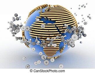Globe with molecules