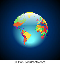 Globe with multicolored countries