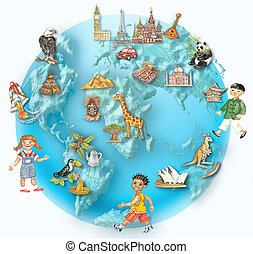 Globe with multicultural kids - Globe. World view with...